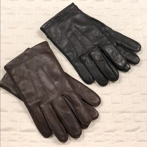 2 Pair Isotoner Men's Medium Gloves Brown & Black